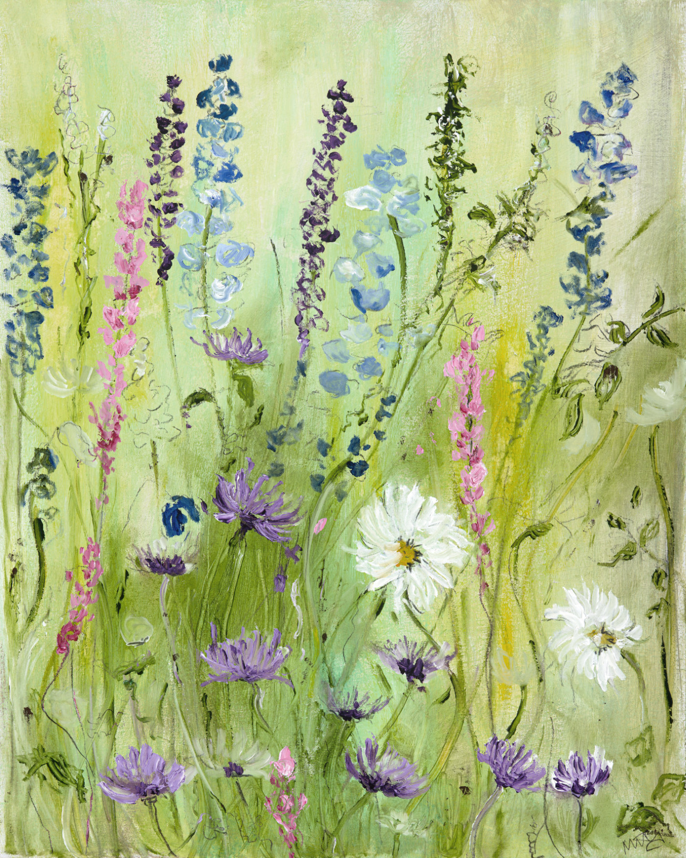 Wild Flower Field Oil Painting Art By Maureen Gillespie